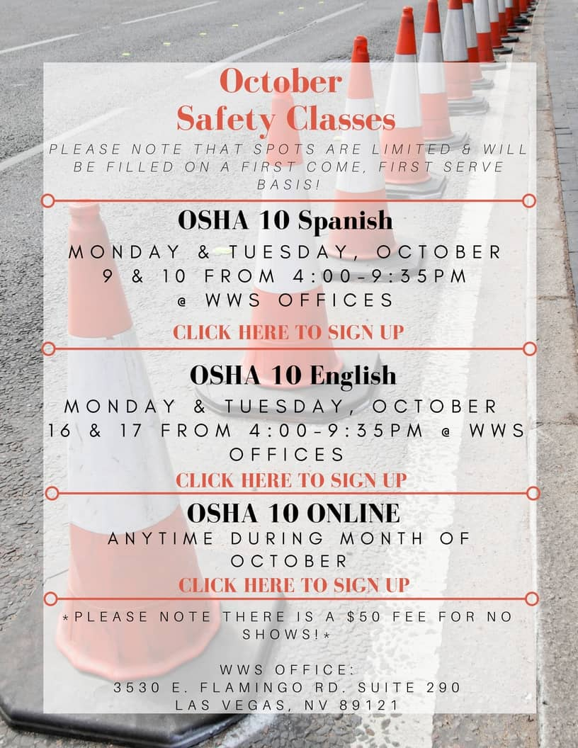 October Safety Classes